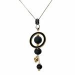 Collier long, pendentif sphère et et cercle en bois luxe (7)