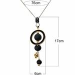 Collier long, pendentif sphère et et cercle en bois luxe (4)