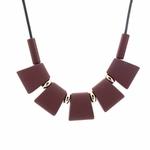 Collier ras de cou, pendentif rectangle en bois (7)