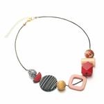 Collier ras de cou, pendentifs en bois multicolore (8)