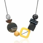 Collier ras de cou, pendentifs en bois multicolore (7)
