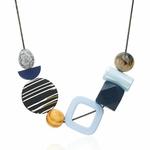 Collier ras de cou, pendentifs en bois multicolore (5)