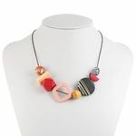 Collier ras de cou, pendentifs en bois multicolore (6)