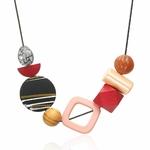 Collier ras de cou, pendentifs en bois multicolore (3)