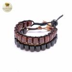Bracelet cuir et bois débène (10)