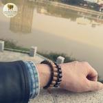 Bracelet cuir et bois débène (8)