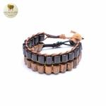 Bracelet cuir et bois débène (3)
