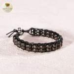 Bracelet cuir tissé et double perle de bois (6)