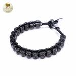 Bracelet cuir tissé et double perle de bois (5)