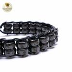 Bracelet cuir tissé et double perle de bois (4)