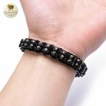 Bracelet cuir tissé et double perle de bois (2)