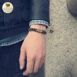 Bracelet en corde de cire et perle de bois (8)