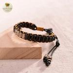 Bracelet en corde de cire et perle de bois (4)