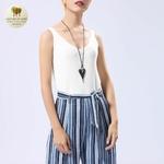 Collier long et pendentif coeur bois de santal (2)