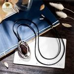 Collier long et pendentif  galet bois de santal (5)