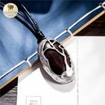 Collier long et pendentif  galet bois de santal (3)