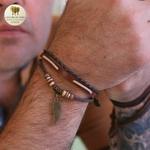 Bracelet cuir et bois aile (6)