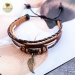 Bracelet cuir et bois aile (5)