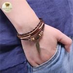 Bracelet cuir et bois aile (4)