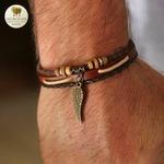 Bracelet cuir et bois aile (1)