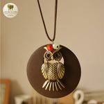 Collier long et pendentif en bois chouette (4)