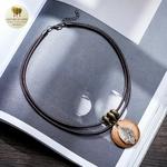 Collier et pendentif bois feuille (2)