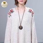 Collier long et pendentif bois galet coeur (1)