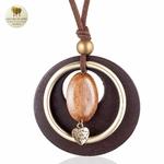 Collier long et pendentif bois galet coeur (4)