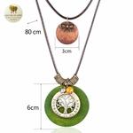 Collier double et pendentifs bois arbre de vie (1)