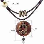 Collier double et pendentif bois noeud amour (4)