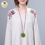Collier long pendentif bois coeur et feuille (5)
