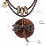 Collier double et pendentif en bois libellule (5)