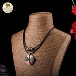 Collier double et pendentif en bois libellule (6)