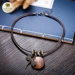 Collier double et pendentif en bois libellule (4)