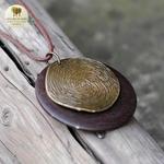 Collier long et pendentif bois et metal tourbillon (4)