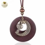 Collier long et pendentif  bois et metal croissant de lune (4)