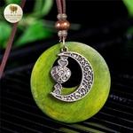 Collier long et pendentif  bois et metal croissant de lune (1)