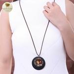 Collier long, pendentif bois et métal facette (7)