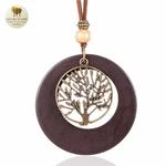 Collier long, pendentif bois et metal arbre de vie (3)
