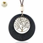 Collier long, pendentif bois et metal arbre de vie (2)