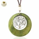 Collier long, pendentif bois et metal arbre de vie (1)