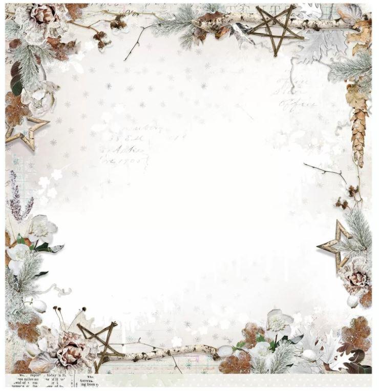 Planche de papier 200 g/m2 thème Hiver Recto Verso - 30.5 x 30.5 cms - vendue à l\'unité