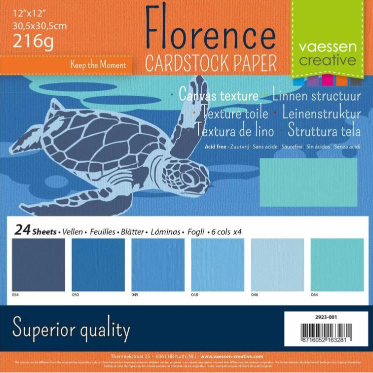 Pack de 24 planches de papier texturé 216 g/m2 - 30.5x30.5 cms - assortiment de bleus