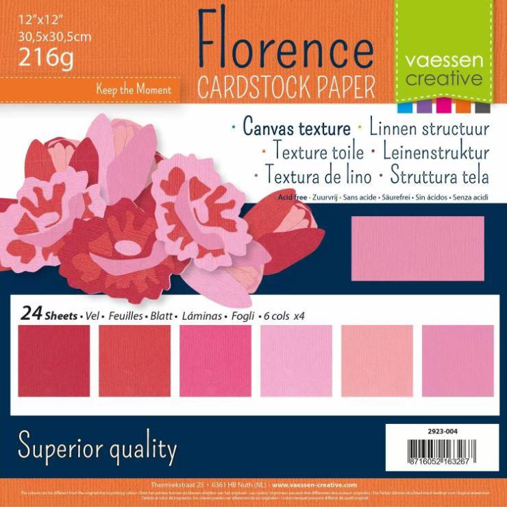 Pack de 24 planches de papier texturé 216 g/m2 - 30.5x30.5 cms - assortiment de roses