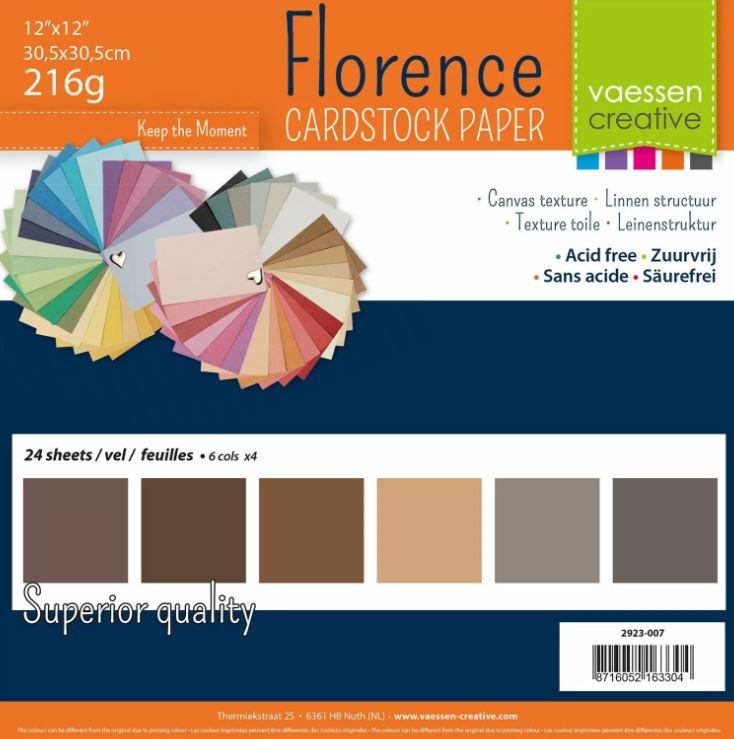Pack de 24 planches de papier texturé 216 g/m2 - 30.5x30.5 cms - assortiment de marrons