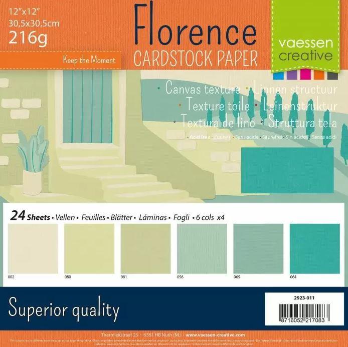 Pack de 24 planches de papier texturé 216 g/m2 - 30.5x30.5 cms - assortiment de verts pastel