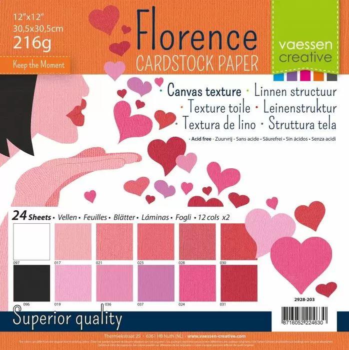 Pack de 24 planches de papier texturé 216 g/m2 - 30.5x30.5 cms - assortiment St Valentin