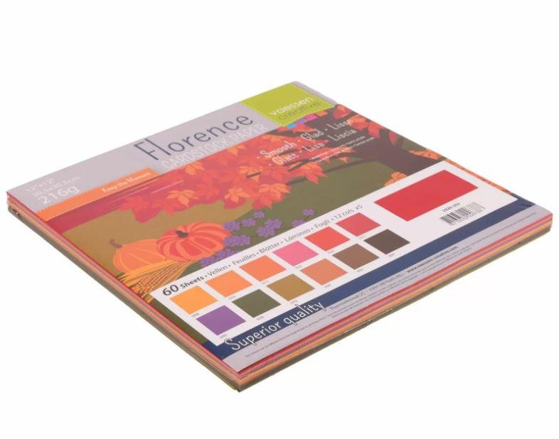 Pack de 60 planches de papier lisse 216g/m2 -30.5x30.5 cms - assortiment Automne