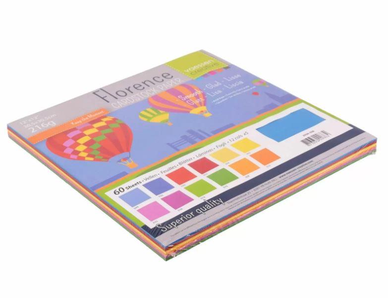 Pack de 60 planches de papier lisse 216g/m2 -30.5x30.5 cms - assortiment coloris primaires
