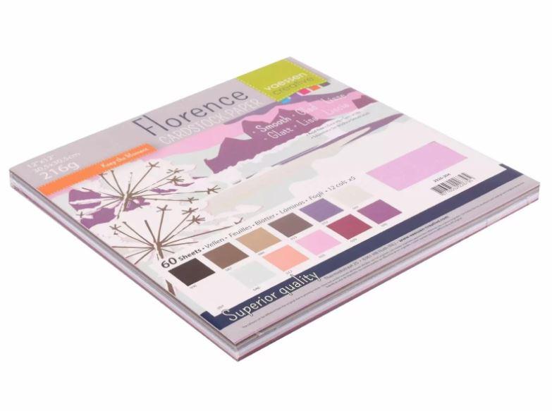 Pack de 60 planches de papier lisse 216g/m2 -30.5x30.5 cms - assortiment coloris Hiver